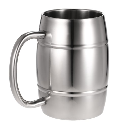 Double-Wall Stainless Steel Drinking Coffee Tea Cup Tub-shaped Beer Mug Beverage Picnic Cup Drinkware with Handle Wipe-clean