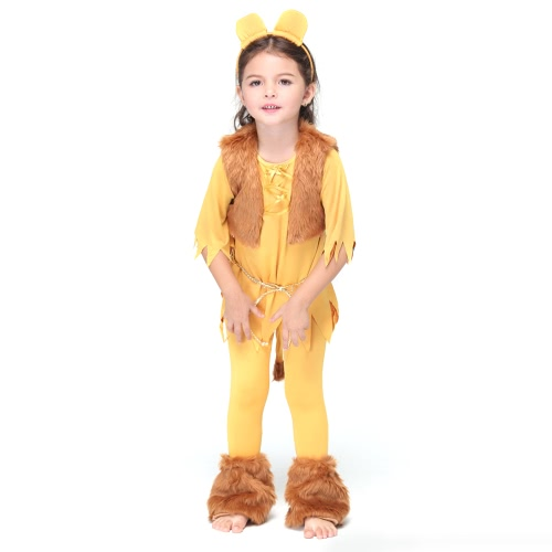 Festnight Fancy Lion King Costumes Halloween Children Party Skirt Suit Cosplay Jungle Lion Costume