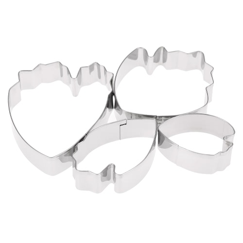 4pcs Stainless Steel Baking Cake Decorating Fondant Tools 3D Beautiful Petal/Gum Paste Mold Peony Flower Petals Teardrop-Shaped Cookie Cutter