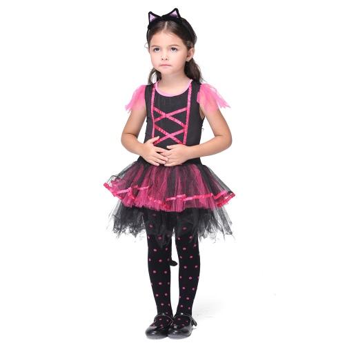 Festnight, diversión y fantasía de la princesa trajes de día de Navidad de Halloween vestido de las muchachas del juego del gato ropa linda de Catwoman partido del traje de Cosplay