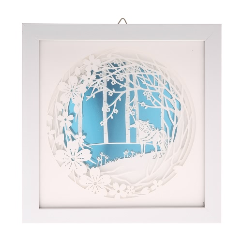 Nowoczesne malowanie 3D dekoracyjne z ramką Delikatne grawerowanie papieru Picture Wall Salon Salon dekoracji wnętrz 24 * 24cm