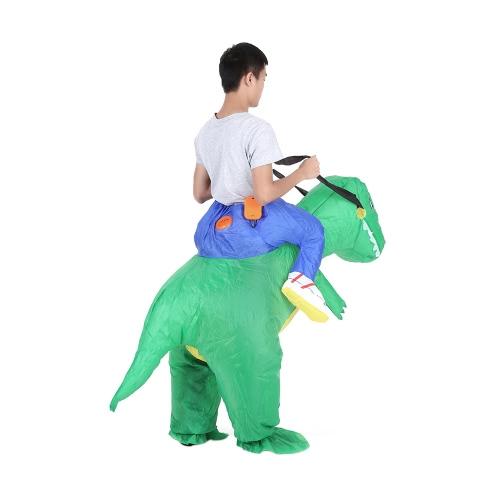 Carino adulti dinosauro gonfiabile costume vestito Air ventola azionata Walking vestito operato Halloween Party Outfit T-Rex gonfiabile Animal Costume