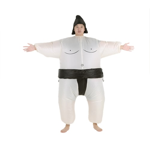Decdeal Cute Adult Inflatable Sumo Costume Suit with Air Operated Fan Fancy Dress Halloween Party Cosplay Outfit Fat Inflatable Wrestler Costume