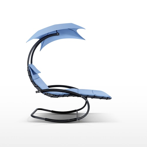 IKayaa Rocking Outdoor Patio Chaise Lounge Chair W / Canopy Garden Крыльцо для бассейна Шезлонг