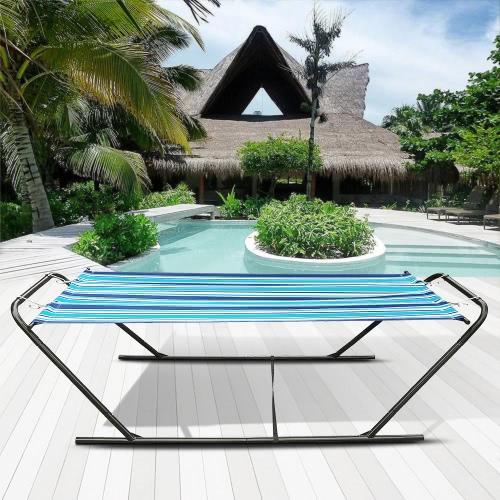 iKayaa Открытого сад Портативный Гамак со стальным стендом сверхпрочного 150кга Вместимости висячей Single Hammock для кемпинга Бича
