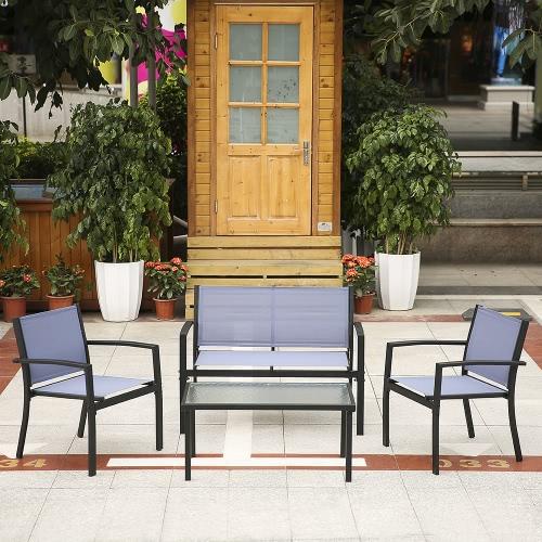 iKayaa 4шт Патио Садовая мебель Набор Крыльцо диван стулья Стол Открытый Диалог Установить стальной раме