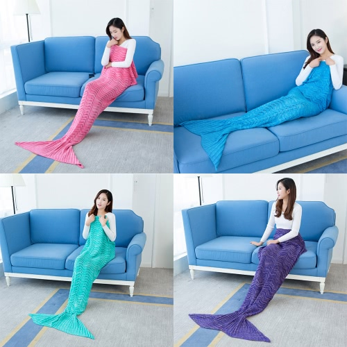Fashion Beautiful Knitted Mermaid Tail Blanket Crochet Sleeping Bag 70.9 × 35.4 Sofa Living Room for All Seasons Adult, TOMTOP  - buy with discount