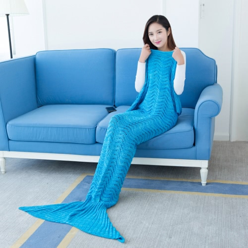 Mode Belle maille Mermaid Tail Blanket Crochet Sac de couchage 70,9