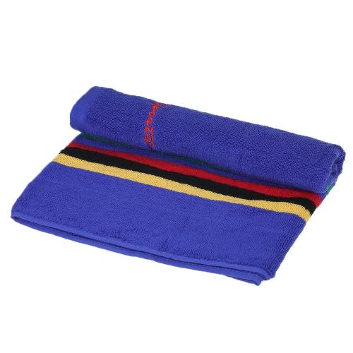106cm Long Sweat Absorbant Cotton Sports Towel Running Travel Gym Yoga Pilates Exercise Serviettes - Bleu