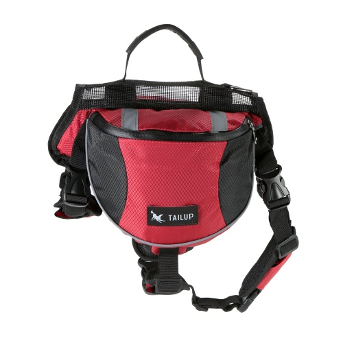 TAILUP Outdoor Pet Dog Adjustable Saddle Bag Backpack Medium Large Sized Dogs Harness Saddlebags for Hiking Training Camping Travel Walking