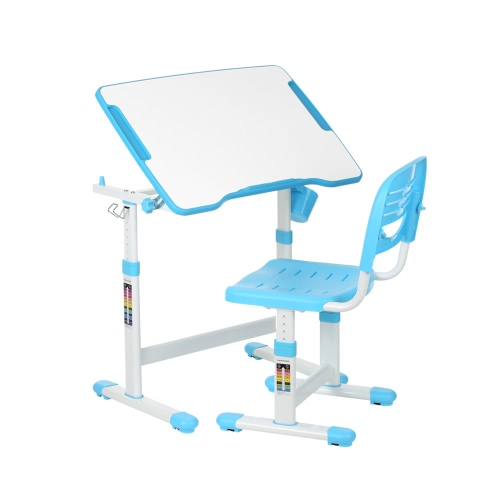 iKayaa Height Adjustable Kid's Study Desk & Chair Set 0-40°Tiltable Children Activity Art Table Set Work Station Metal Frame
