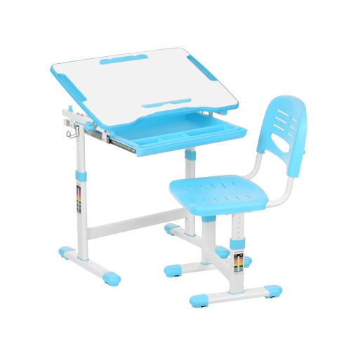 iKayaa Height Adjustable Kid's Study Desk & Chair Set W/ Paper Roll Holder 0-40°Tiltable Children Activity Art Table Set Metal Frame