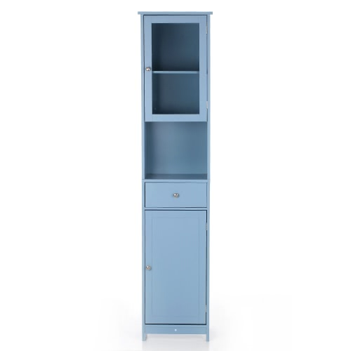iKayaa Modern Tower Tall Storage Cabinet with Doors & Drawer Wooden Floor Cabinet Home Furniture White/Blue