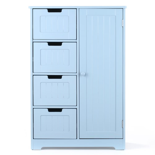 iKayaa Modern Shelved Floor Cabinet with Door & Drawers Bedroom Storage Organizer Furniture White/Blue