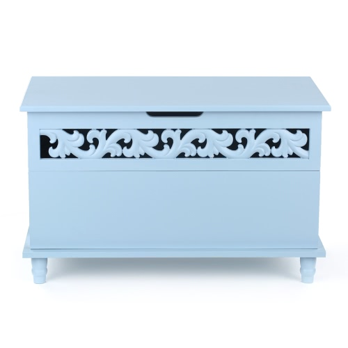 iKayaa Modern Rectangle Storage Chest Large Toy Blanket Storage Bench Ottoman White/Blue