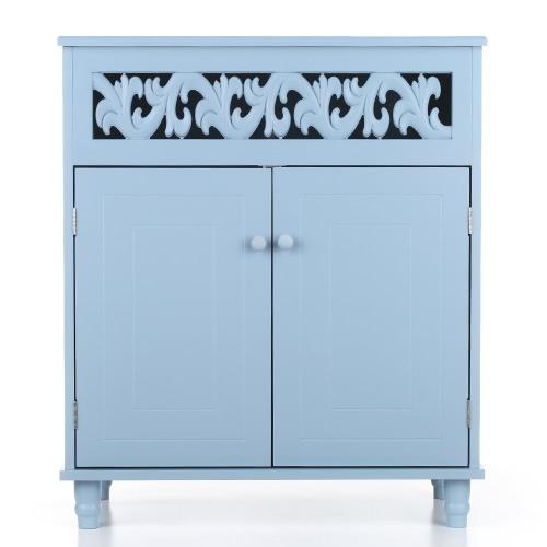 iKayaa Современный двухдверный напольный шкаф Шкаф для хранения мебели Спальня Мебель для ванной комнаты Белый / Синий