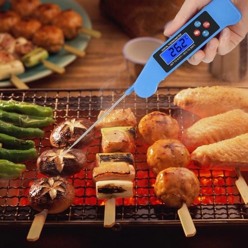 Digital de lectura instantánea de voz de difusión barbacoa de alimentos barbacoa termómetro con pantalla LCD retroiluminada sonda plegable para carne de bistec carne de agua