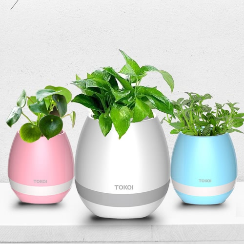 Tokqi Flowerpot Colorful LED Night Light Smart Touch Music Piano Plant Lamp Rechargeable sans fil BT Bluetooth Speaker Gift