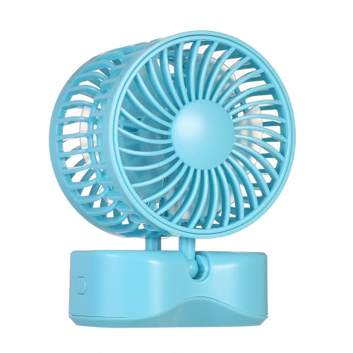 Portable Double-head USB Rechargeable Couple Fan Foldable 180° Rotation Adjustable Wind Speed Desktop Cooling Fan with Base White