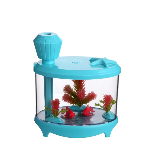 Novel Fish Tank LED Nachtlicht Haushalt Ultraschall Luftbefeuchter Aquarium Kleine Zylinder Luftreiniger Misting Maker Lampe High Capacity Sprayer USB Mini Fresh Filter