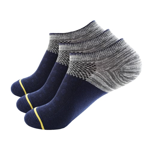 3 пары Мужские дышащие хлопчатобумажные изделия с низким вырезом Нет Показать носки для лодок Спортивный бег на велосипеде Атлетические носки для голеностопного сустава для США 7.5-9.5 / Великобритания 6.5-8.5 / Европейские 40-44 - Темно-синий