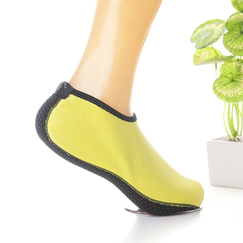 Nylon Neoprene Anti-skid Water Sports Socks Beach Snorkeling Diving Swimming Surfing Fin Auqa Socks for Women Men--L Size Yellow