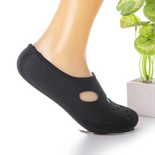Нейлоновый неопрен Противоскользящие водные спортивные носки с отверстиями Пляжный подводный плавательный дайвинг Плавание для серфинга Fin Auqa Носки для женщин Мужчины - L Размер Черный
