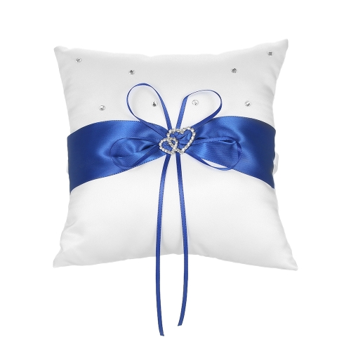 7 * 7 inches Double Heart Satin Wedding Ring Bearer Pillow with Rhinestone Diamond Decoration Wedding Supplies