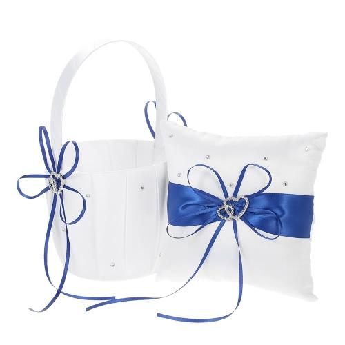 6 * 6 cali Double Heart Satyna Ring Bearer Poduszka i Wesele Flower Girl Kosz Kosz z dekoracją Ribbon Rhinestone White