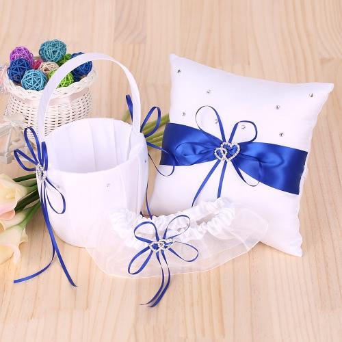 5pcs/set Wedding Supplies Double Heart Satin Flower Girl Basket + 7 * 7 inches Ring Bearer Pillow + Guest Book + Pen Holder + Bride Garter Set White, TOMTOP  - buy with discount