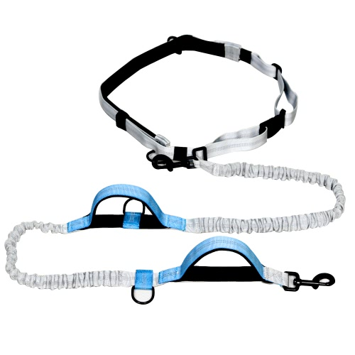 Outdoor Retractable Hands Free Nylon Dog Leash Pet Strap Lead Safety Traction Rope with Shock Absorption Dual Bungees for Walking Training Control 140-185cm