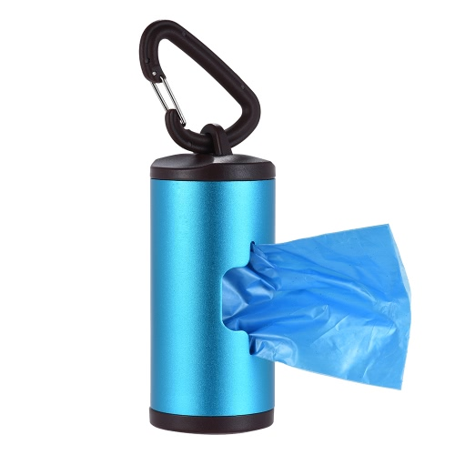 Colorful Pet Poop Holder Dog Waste Dispenser Aluminum Tube Includes 15pcs Waste Bags Refillable