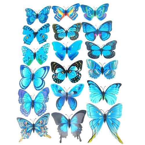 Papillon Lifelike 3D et double couche en PVC pour décoration murale
