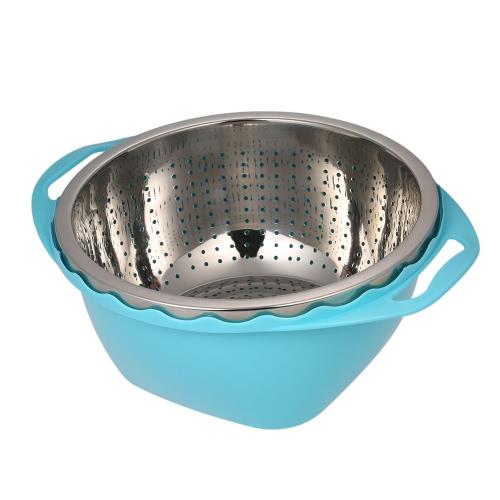 Multifunktions-Drain-Korb Doppelte Schicht Obst & Gemüse Waschen Drainieren Korb Edelstahl Sieb Korb Küche Colanders Gemüse Basin Obstkorb Gemüse Korb