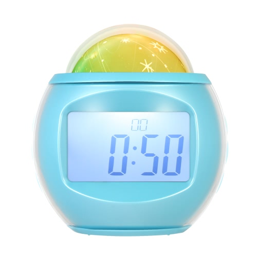 Despertador digital con reloj de música de proyección de estrellas cielo con luz de la noche luz de la noche calendario termómetro función del temporizador