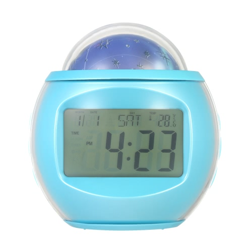 Digital Alarm Clock with Star Sky Projection Music Clock with Backlight Night Light Calendar Thermometer Timer Function