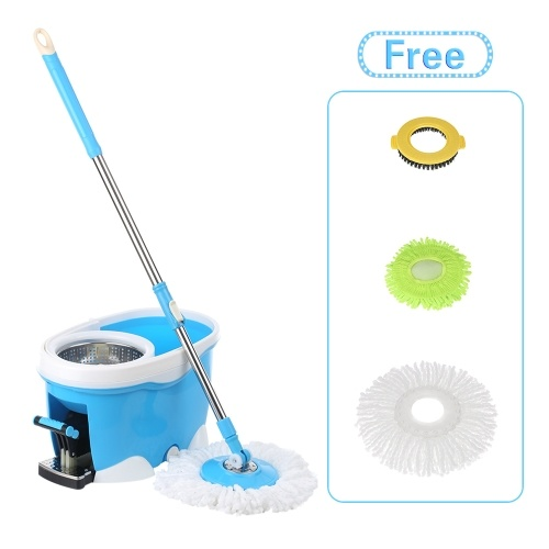 iKayaa Hands-free Stainless Steel 360°Rotating Spin Mop Bucket Set
