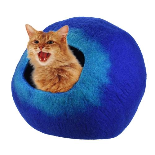 Lana de fieltro artesanal Nido de cueva de gato para mascotas Nido Suave Cómodo para gatos grandes y gatitos