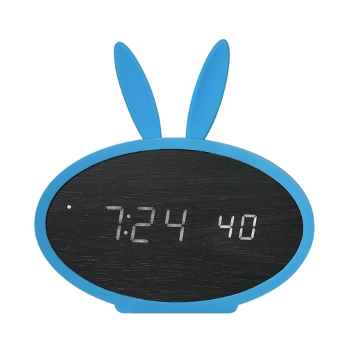 Kids Wooden LED Digital Alarm Clock USB & Battery Operated Sound Control Clock with Year Month Date / Hour Minute Second / Temperature Display 3 Alarms Settings--Black