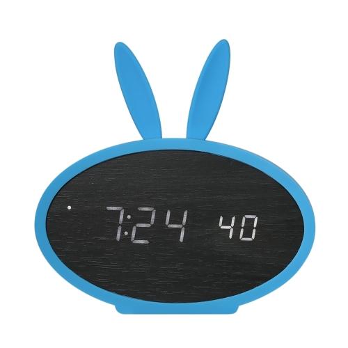 Дети Деревянный светодиодный цифровой будильник Часы с USB и батареей с управлением по времени с месяцем Месяц Дата / Часовая секунда / Индикация температуры 3 Настройки будильника - Черный