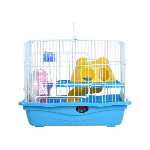 Hábito de animales pequeños Gerbil Ratón Jaula de ratas Hábitat Casa Escondite Patio de recreo de 2 pisos con alimentador Botella de agua Escalera de ruedas silenciosa Proveedor de mascotas
