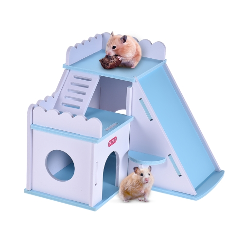 Pet Dwarf Hamster House Home Hideout Wood Hut Cabin Small Animal Gerbil Mouse Rat Guinea Pig Galesaur Chinchilla Bed Playground Toy
