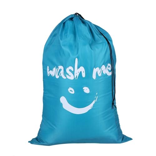 Wielofunkcyjny duży składany nylonowy worek na pranie Brudny worek na ubrania z sznurkiem zamknięcie do pralni domowej - niebieski