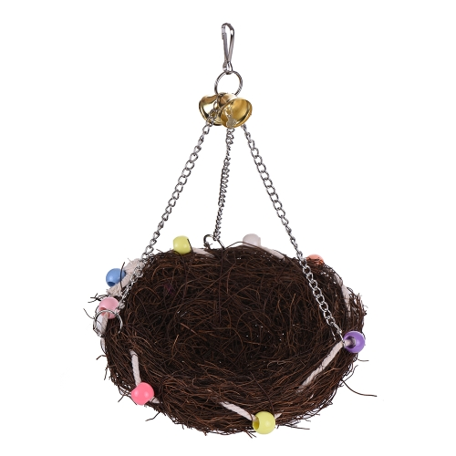 Natural Bird Nest Color Parrot Hanging Swing Chew Toy Bird Cage Accessories for Parakeet Budgie Macaw Cockatoo