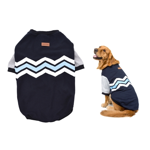 Premium Breathable Pet Large Dog Clothes Hoodie Sweater Fleece Wave Pattern Cute Puppy Costume Supplies Adopt for Soft Cotton