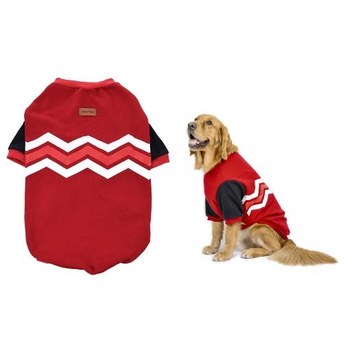 Mascota respirable superior Ropa de perro grande Sudadera con capucha Patrón de onda de lana Patrón de traje de perrito lindo Adoptar para algodón suave