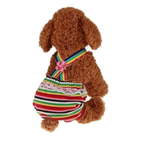 Красочный удобный Уютный Pet собак Хлопок Затянуть ремень Санитарные физиологические штаны Pet Нижнее белье Подгузники