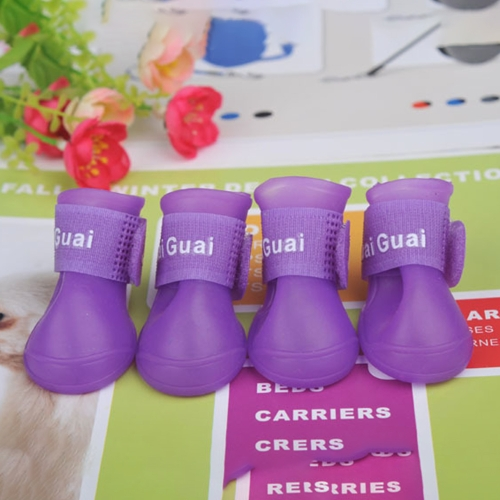 Dog Candy Colors Boots Waterproof Rubber Pet Rain Non-slip Shoes