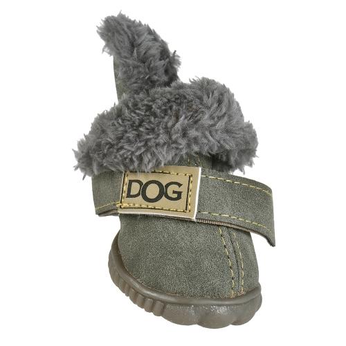 4-teiliges Set Welpen Haustier Hund Katze Schuhe Stiefel Pfote Protektoren Winter Warm Adoptieren für Wildleder rutschfeste Gummisohle