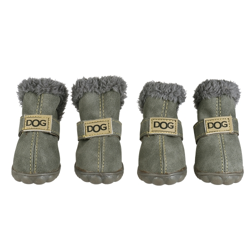 4 piezas Set Puppy Pet Dog Cat Shoes Botas Paw Protectors Invierno Cálido Adoptar para Suede Antiskid Rubber Sole